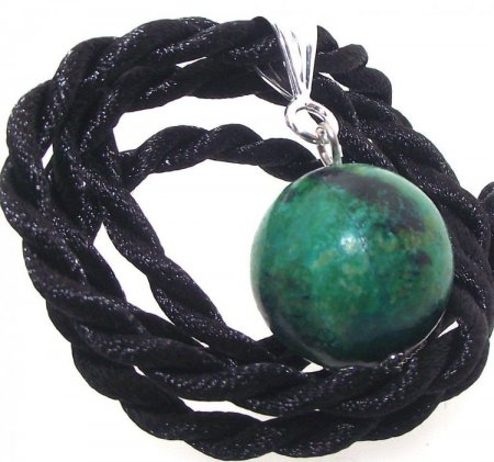 Chinese Sinkiang Turquoise 18mm Sphere Pendant with Thong