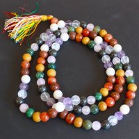 Nine Planet Astro Gemstone Mala Prayer Beads Necklace - 108 - with Pouch