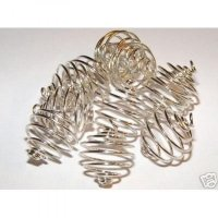 14mm Silver Spiral Cages For Gemstones + Crystals X 50