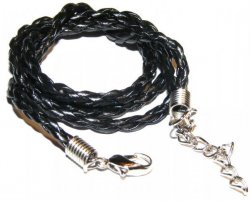 "18"" Black Plaitted Leather Necklace Pendant Thong"