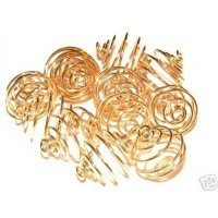 18mm Gold Spiral Cages For Gemstones + Crystals X 12
