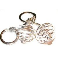 2 Spiral Cage / Dropper Key Rings For Gemstones + Crystals Both 25Mm