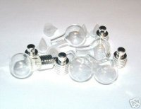 5 X Bulb Shaped Glass Vial Pendants / Oil / Herbs