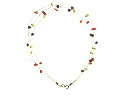 Assorted Gemstone Chip Steel Wire Necklace