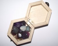 Wooden Hexagon Box with assorted Agate gemstones