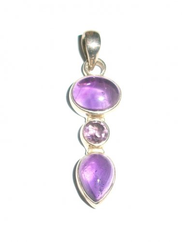 Amethyst Facetted Gem Cabochon Sterling Silver Pendant