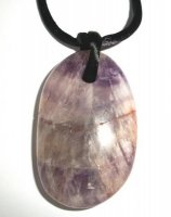 Amethyst Polished Tumbled Pendant with Necklace Thong