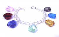 Andara Crystal Glass Charm Bracelet with 7 Crystals