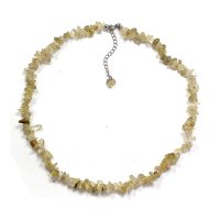 "Golden Rutilated Quartz 18"" Chip Gemstone Necklace"