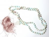 Aqua Terra Jasper Gemstone Mala Prayer Beads Necklace - 108 - with Pouch