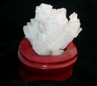 Arkansas Quartz Cluster Specimen with Wooden Base
