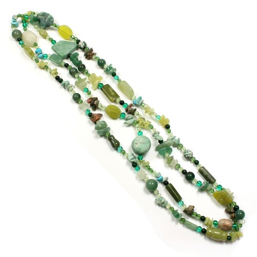 "Mega 44"" Assorted Gemstone Chip Tumble Necklace"