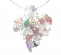Assorted Gemstone Cluster Necklace