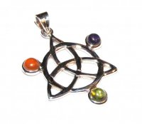 Assorted Gemstone Triquetra Pendant 12
