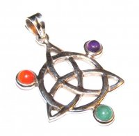 Assorted Gemstone Triquetra Pendant 4