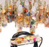Assorted Gemstones Glass Spell Bottle Pendant Wicca