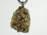Gold Aura Geode Wire Wrapped Pendant 2