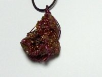 Purple Aura Geode Wire Wrapped Pendant 2