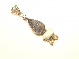 Druze Teardrop, Biwa Pearl and Citrine Sterling Silver Pendant