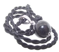 Black Tourmaline Crystal / Gemstone 16mm Sphere Pendant