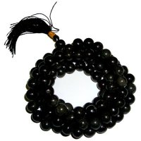 Black Agate Gemstone Mala Prayer Beads - 108 - with Pouch