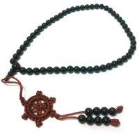 Black Agate Gemstone Mala Prayer Beads - 54 - with Pouch