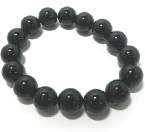 Black Agate Gemstone Power Bracelet 12mm