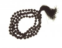 Black Obsidian Gemstone Mala 8mm Prayer Beads - 108 - with Pouch