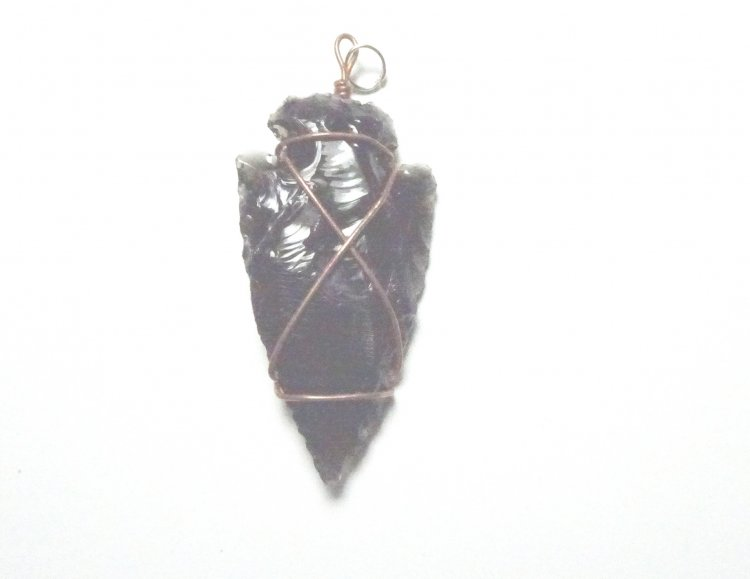 Black obsidian arrowhead wire wrapped pendant 21682 719 the black obsidian arrowhead wire wrapped pendant larger image aloadofball Choice Image