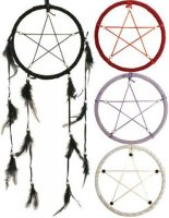 Black Pagan Pentacle Dreamcathcher with Feathers