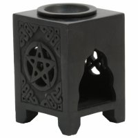 Soapstone Oil Burner - Black Pentagram
