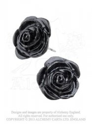 Black Rose Studs / Earrings Pair