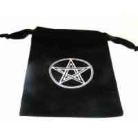 Black Velvet Pentagram Crystals / Runes Bag