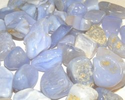 Blue Lace Agate Gemstones - Set of 3 Small Tumbled Crystals