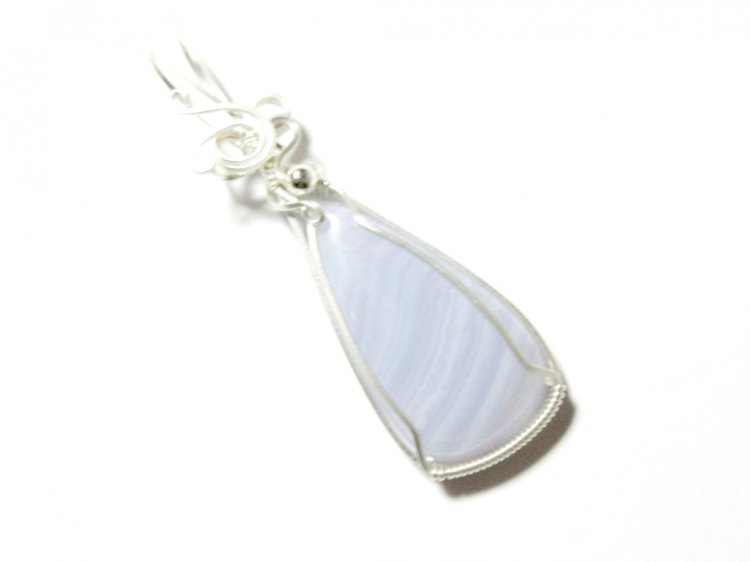 Blue Lace Agate Wire Sculpted Pendant Sterling Silver 5