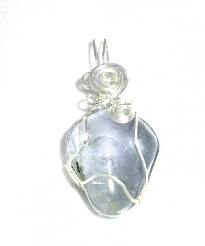 Blue Topaz Wire Wrapped Gemstone Pendant - Large