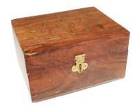 Aromatherapy Box Brass Inlaid - Holds 6 bottles