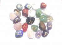 Bright Mix Elder Furthark Gemstone Rune Set With Pouch - Medium / Large