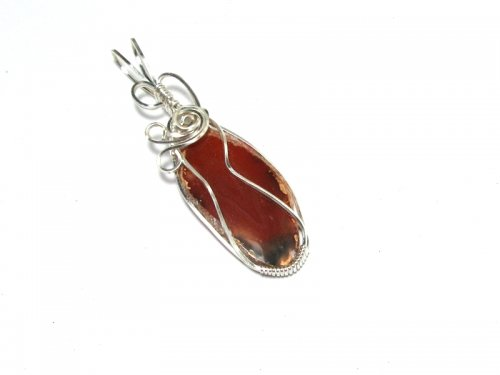 Red Agate Slice Wire Wrapped / Sculpted Pendant