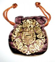 Gold Embossed Brown Chinese Silk Brocade Pouch