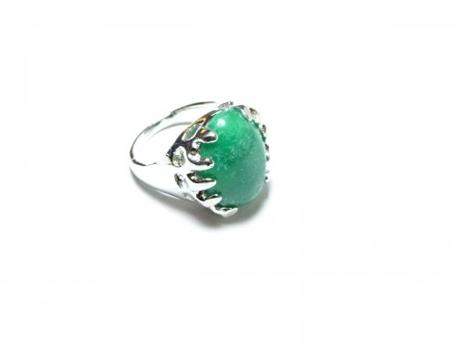 Burmese Jade Gemstone Oval Cabachon Ring