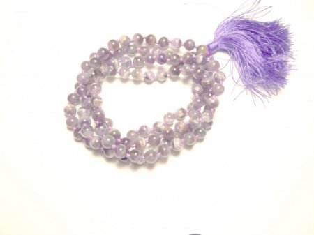 Chevron Amethyst Gemstone Mala Prayer Beads Necklace - 108 - with Pouch