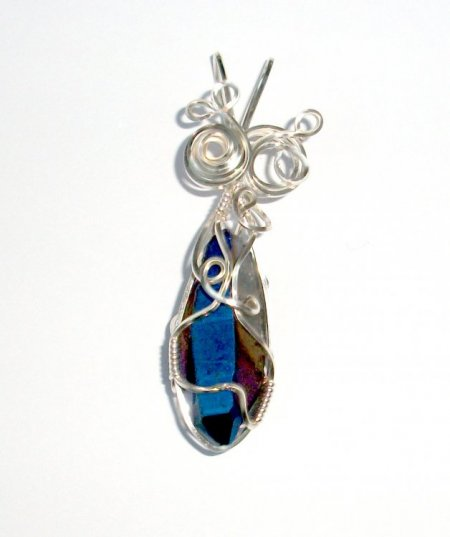 Cobalt Aura Wire Wrapped Sculpted Gemstone / Crystal Pendant