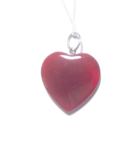 Carnelian Gemstone Heart Sterling Silver Pendant with Chain