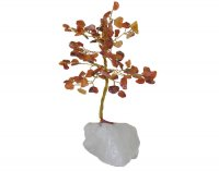 Carnelian Gem Tree - Quartz Base