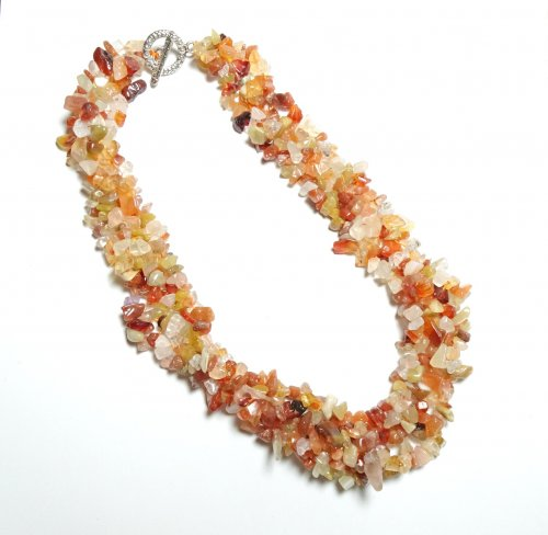 Carnelian Gemstone Choker Chip Necklace