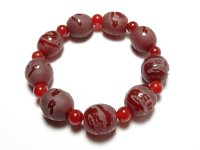 Dragon Etched Carnelian Rounded Gemstone / Crystal Bracelet