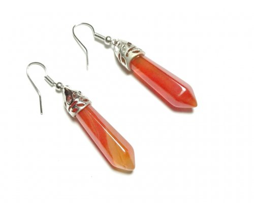 Carnelian Gemstone Point Earrings