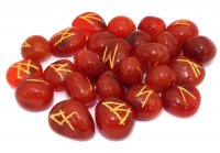 Carnelian Elder Furthark Rune Set with Pouch - Medium or Large - Elder Futhark