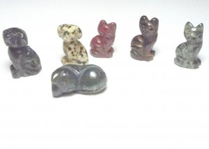 Cats and Dogs Bear Gemstone Carving